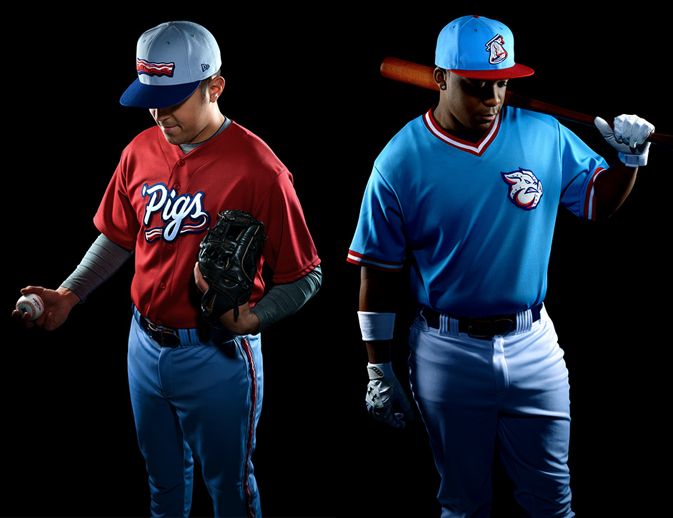 Two baseball players in Iron Pigs uniforms