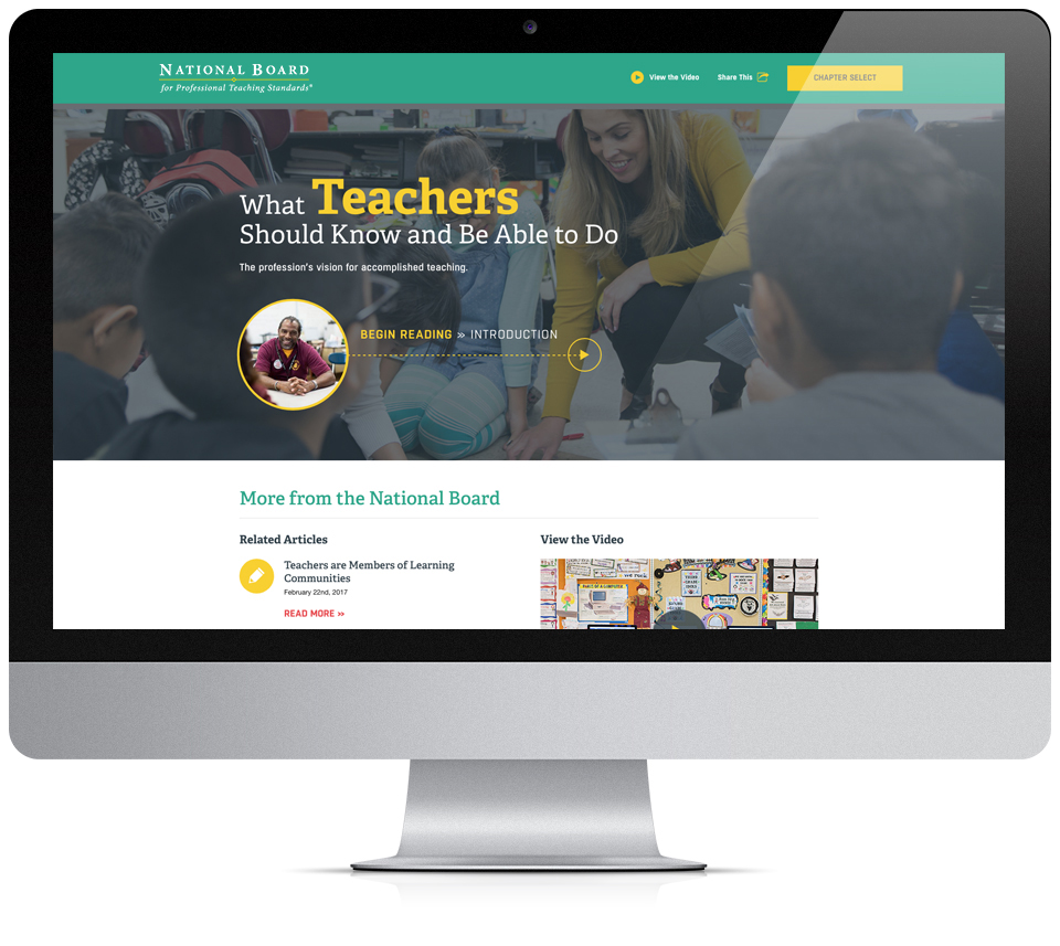 NBPTS Homepage on Computer Monitor
