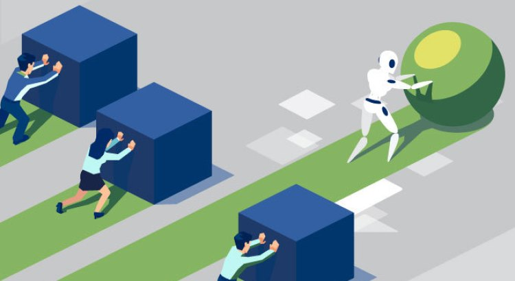 Image of three people slowly pushing boxes while a robot quickly pushes a sphere