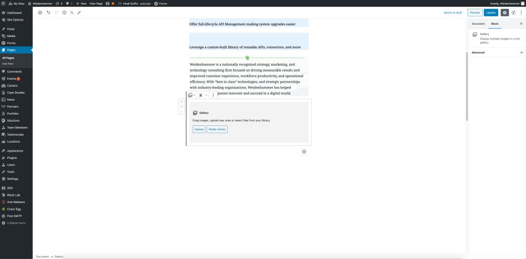 Screenshot of custom blocks in Gutenberg