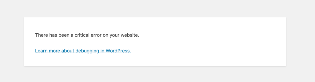 "Screenshot of wordpress 5.5 error message which reads"" There has been a critical error on your webiste"""